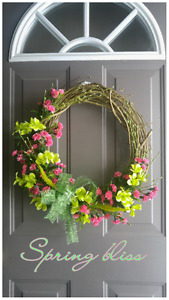 "NEW ""SPRING BLISS"" GRAPEVINE WREATH"
