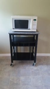 Microwave with kitchen cart
