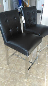 Brand new black leather stainless steel bar stools