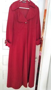 BRAND NEW-IMPORTED FROM HONG KONG-RED MAXI COAT-WOOL&POLYBLEND