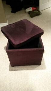 Faux Suede Storage Box, Footrest, Stool - black