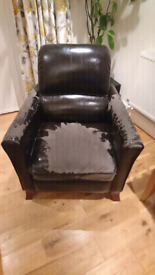 Free Leather faux, reclining armchair