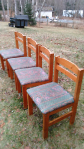Solid wood chairs and drop leaf table