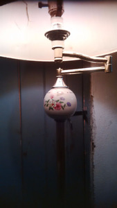 Vintage floor lamp with china sphere, $40