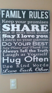 FAMILY RULES on canvas print