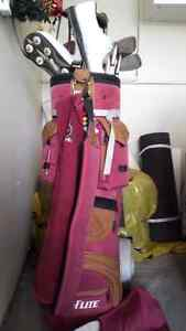 Golf Clubs and Caddy + Shoes size 10