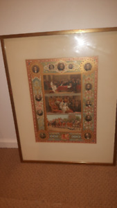 "2 LARGE OLD VICTORIAN PRINT SERIES FRAMED (23"" X 18"")"