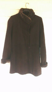 dark brown sheared lamb coat