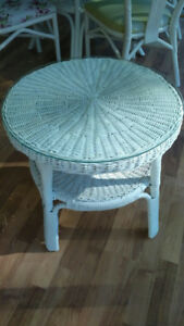 Wicker table with glass top