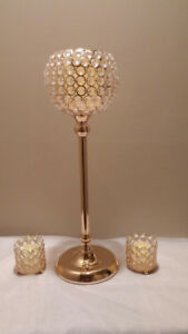 Gold crystal globe centerpieces for  rent