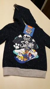 """2T Boys..Paw Patrol,"""" hoodie...BRAND NEW WITH TAGS"""