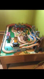 Trains play table and wooden railway track