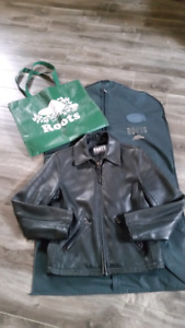 Roots women leather jacket size 2