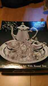New never used 3 piece silver coffee set with tray