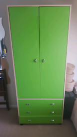Lime Green Wardrobe with 3 x drawers