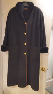 Manteau noir chic en laine d' hiver pour femme taille 12-14