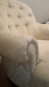 Beautiful tufted chenille ivory chair