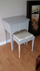Warm grey sewing table and stool