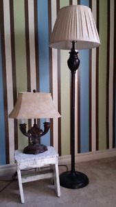Table & floor lamps same color different shades