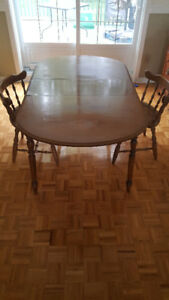 Real Wood Dining Table + 2 wooden Chairs!