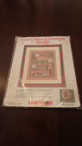 Cross stitch sampler of the Twelve Days of Christmas