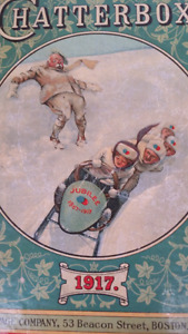 """1917 Original """"Chatterbox"""" Victorian Book """"Jubilee Sled"""" Cover I"""