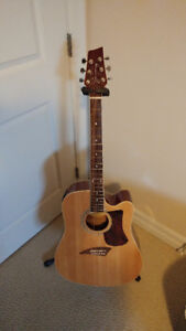 Kona Gold Series Solid Top Acoustic Electric and bag for sale.