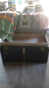 Vintage antique steamer shipping trunk Christie trunk