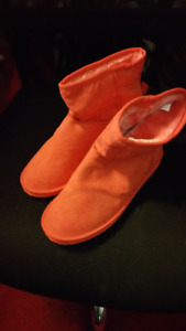 """Red/orange boot style faux sheepskin slippers.  """"NEW"""""""