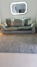 DFS CRUSHED VELVET 3 SEATER SOFA