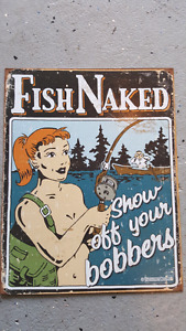 Fish naked tin sign