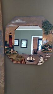 hand Painted Mirror (decorative painting) 18 inches x 18 inches.
