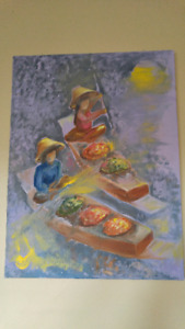 Painting  oil on canvass two boats with fruits