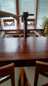 Beautiful Wood Pub Table and 8 Chairs