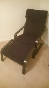 Clean Ikea Poang chair + footstool - black recliner no stains