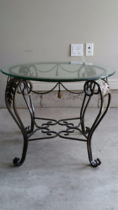 Bowring Metal Table With Round Glass Top