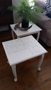 Two matching white side/ end tables