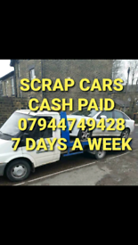 CASH PAID FOR SCRAP CARS TELEPHONE 07944749428