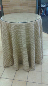 Side tables with custom neutral tablecloth & glass top