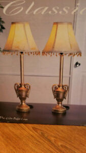 """New Table lamps 22"""" tall with White shades. Set of 2."""