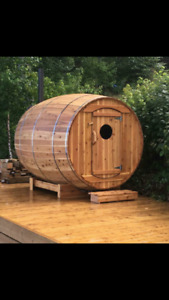 Coopered barrel saunas.