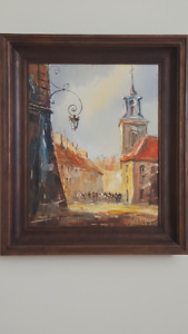 Oil on canvas - streets of Warsaw by King's palace