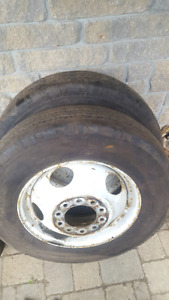 6 Goodyear 8R19.5 tires on Chevy 10 bolt rims
