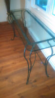 table console verre et fer forge