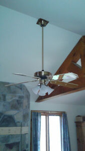 52 inch fan 3 spd/reversible with lighting on extension rod