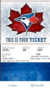 Toronto v Oakland July 27th (Single Ticket)