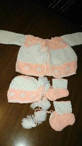 Ensemble bébé crochet vintage (blanc&orange)