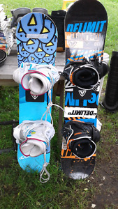Kids Snowboards, bindings and boots and kids bikes