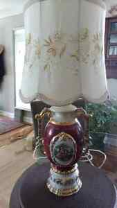 Hand painted George & Martha Washington Porcelain Lamp
