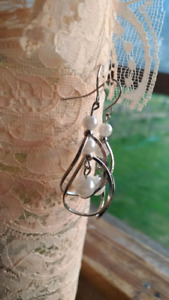 White perl earrings